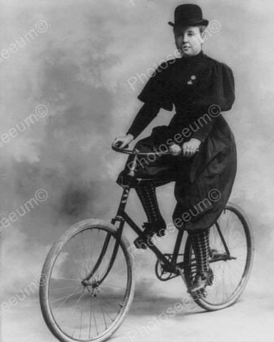 Victorian Woman On Antique Bicycle 1800s 8x10 Reprint Of Old Photo