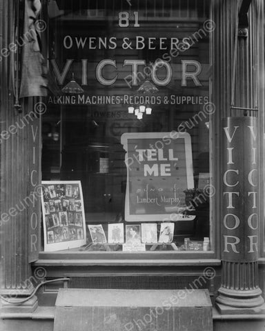 Victor Antique Record Shop Early 1900s 8x10 Reprint Of Old Photo