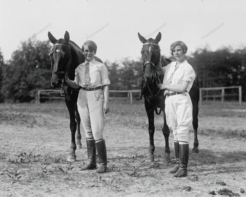 Young Equestrian Boy & Girl With Horses 1927 Vintage 8x10 Reprint Of Old Photo