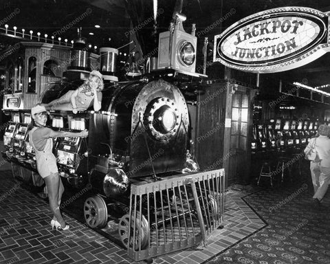 Locomotive Slot Machines Jackpot Juction Vintage 8x10 Reprint Of Old Photo