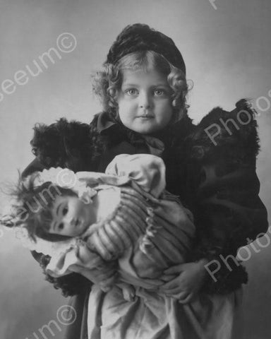 Little Victorian Girl Holds Doll 1800s 8x10 Reprint Of Old Photo