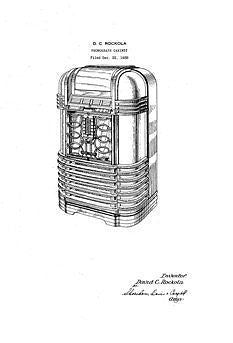 USA Patent Rockola 1930's Jukebox DE 20 Deluxe Drawings