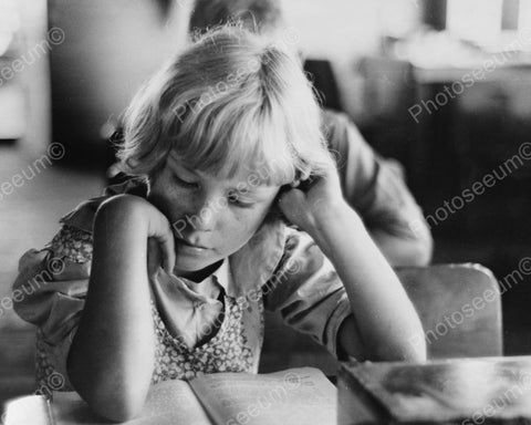 Young Girl Reading School Book 1938 Vintage 8x10 Reprint Of Old Photo