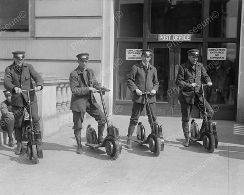 Mail Post Men On Antique Scooters 8x10 Reprint Of Old Photo