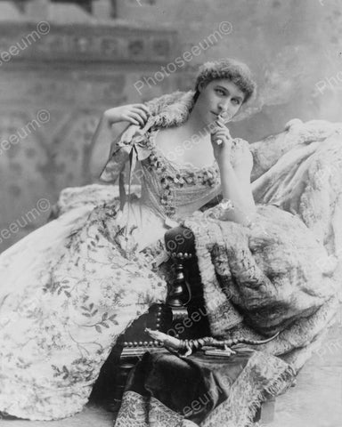 Victorian Lady In Long Gown Smokes Vintage 1800s Reprint 8x10 Old Photo