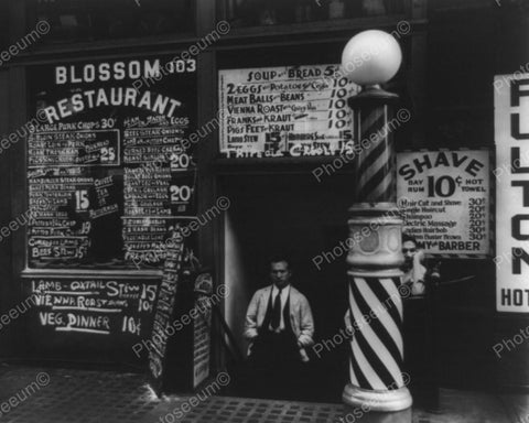 Barber Shop Shave 10 cents 1930's Vintage 8x10 Reprint Of Old Photo - Photoseeum