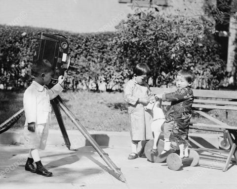 Children Playing With Movie Camera Vintage 8x10 Reprint Of Old Photo