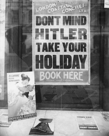 Window Display For Travel During War Vintage 8x10 Reprint Of Old Photo