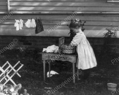 Victorian Little Girl Doing Laundry 8x10 Reprint Of Old Photo