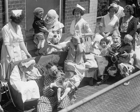 Hospital Clowns Entertaining Children 1923 Vintage 8x10 Reprint Of Old Photo