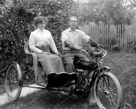 Indian Motorcycle With Sidecar 1905 Vintage 8x10 Reprint Of Old Photo