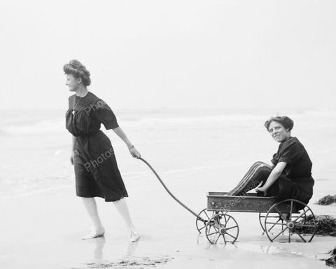 Beach Wagon Ride 1905 Vintage 8x10 Reprint Of Old Photo