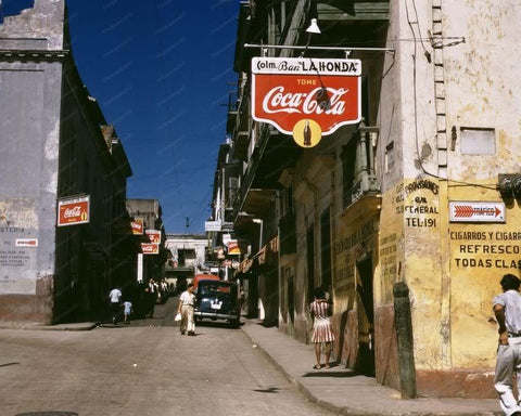 Coca Cola Signs Streets Puerto Rico 1940s 8x10 Reprint Of Old Photo - Photoseeum