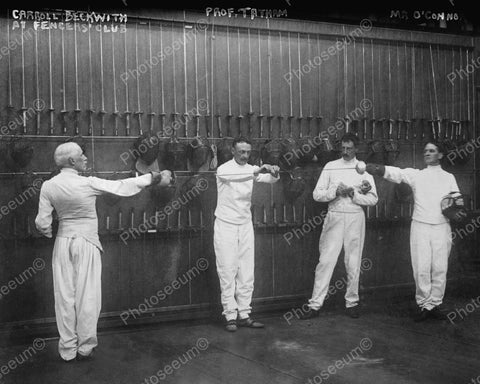 Fencers Club With Instructor & Students Vintage 8x10 Reprint Of Old Photo