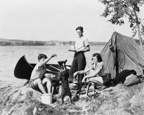 Family Vintage Camping Scene! 8x10 Reprint Of Old Photo