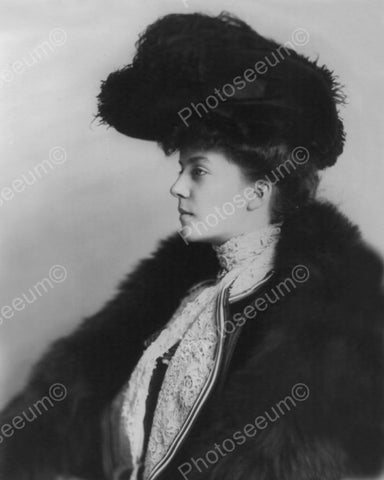 Victorian Lady In Fur Profile 1800s 8x10 Reprint Of Old Photo
