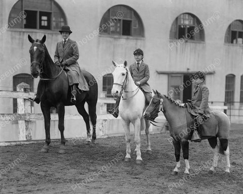 Equestrian Riders W Horse & Pony 8x10 Reprint Of Old Photo