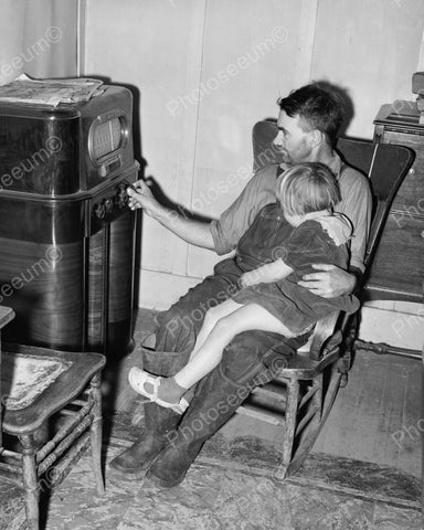 Father And Daughter Listening To Radio 1940's Vintage 8x10 Reprint Of Old Photo