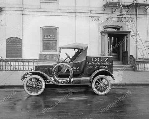 Ford Auto Duz Soap Delivery Truck 8x10 Reprint Of Old Photo