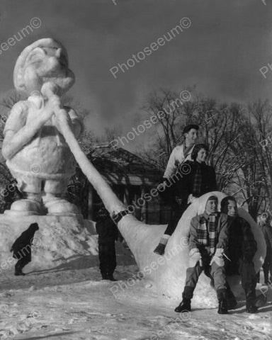 Huge Winter Carnival Ice Sculpture! 8x10 Reprint Of Old Photo