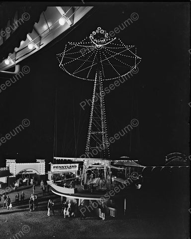Glen Echo Aeroplane Ride At Night 1930's Vintage 8x10 Reprint Of Old Photo