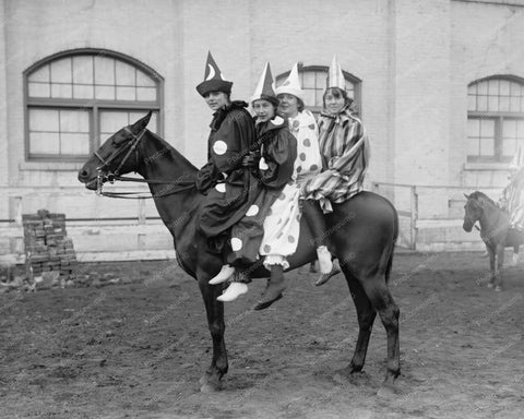 4  Clowns On Horse! Circa 1910s Vintage 8x10 Reprint Of Old Photo