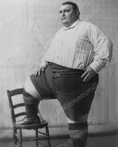 "Big Joe Poses ""Biggest Man in the World"" 8x10 Reprint Of Old Photo"