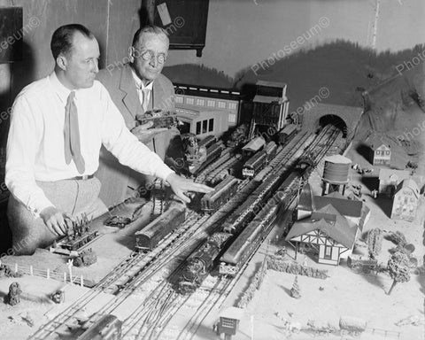 Men Playing With Toy Trains 1929 Vintage 8x10 Reprint Of Old Photo - Photoseeum