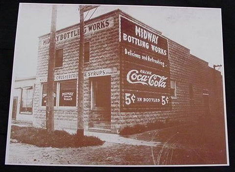 Coca Cola Midway Bottling Works Vintage Sepia Card Stock Photo 1930s - Photoseeum