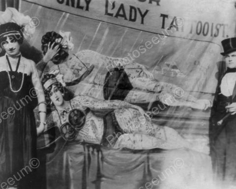 Only lady Tattooist Carnival Show 8x10 Reprint Of Old Photo