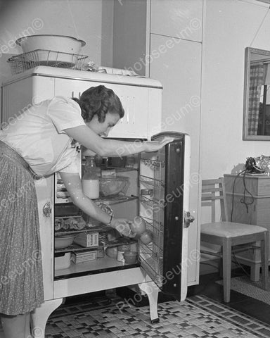 Woman Using Refrigerator 1942 Vintage 8x10 Reprint Of Old Photo