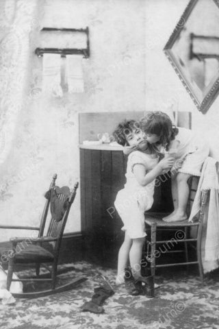 Victorian Girl Gives Boy Unwanted Kiss! 4x6 Reprint Of Old Photo - Photoseeum