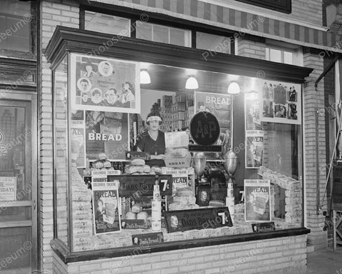 A&P Store Window Display Of Dads Bread 1924 Vintage 8x10 Reprint Of Old Photo - Photoseeum