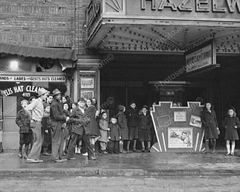 Kids In Vintage Movie Theatre Line Up  8x10 Reprint Of Old Photo