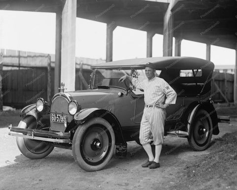 Baseball Player & Oldsmobile 1920s Car 8x10 Reprint Of Old Photo