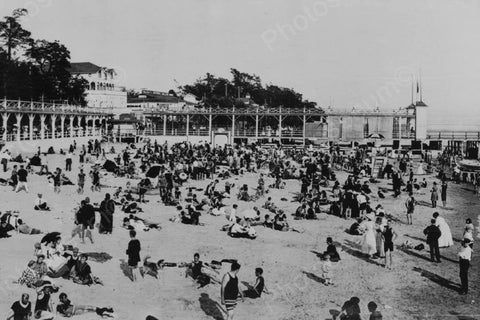 Crystal Beach Ontario Busy Beach 1910s 4x6 Reprint Of Old Photo - Photoseeum