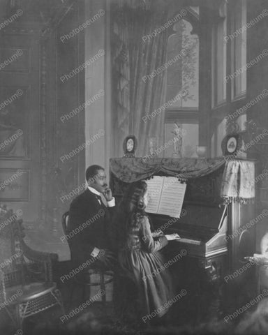 African American Man Teaches Piano 8x10 Reprint Of Old Photo