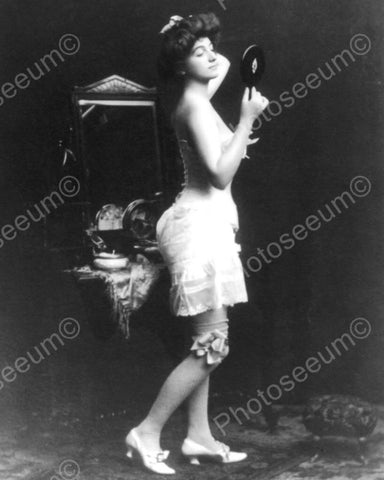Victorian Woman In Lingerie Eyes Mirror 8x10 Reprint Of Old Photo