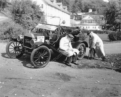 Fixing A Flat Tire Ford Automobile Race 1910 Vintage 8x10 Reprint Of Old Photo