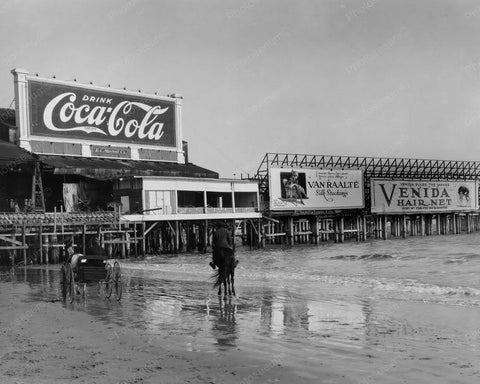 Atlantic City NJ Coca Cola Billboard Vintage 1920s Reprint Of Old Photo - Photoseeum