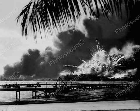 Bombing Pearl Harbour Vintage 8x10 Reprint Of Old Photo