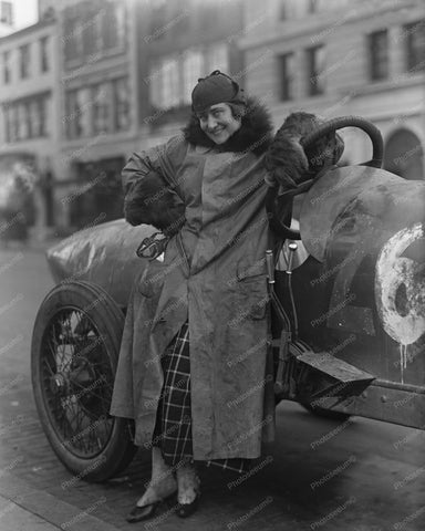 Victorian Woman Auto Racer Poses Vintage 8x10 Reprint Of Old Photo - Photoseeum