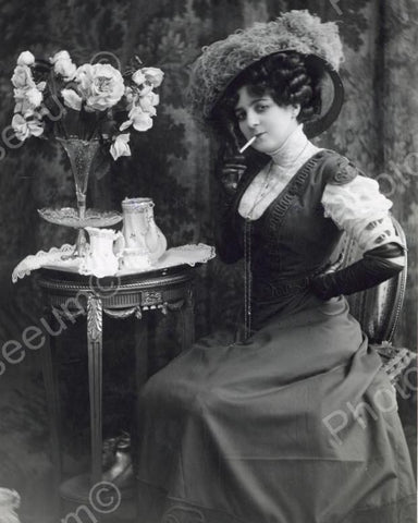 Victorian Woman Smoking Pose Vintage 8x10 Reprint Of Old Photo