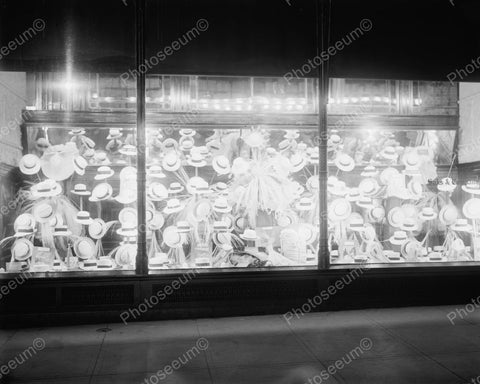 Window Display Of Hats 1920 Vintage 8x10 Reprint Of Old Photo