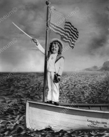 Cute Vintage Child Sailor At Sea! Studio 8x10 Reprint Of Old Photo