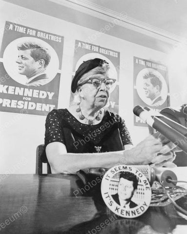 Eleanor Roosevelt Promoting Kennedy Vintage 8x10 Reprint Of Old Photo