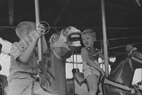Boys Ride Merry Go Round Horses 1940s 4x6 Reprint Of Old Photo