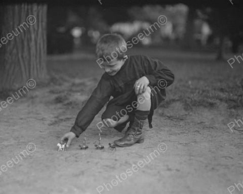 Vintage Boy With Toy Soldiers 1910s  8x10 Reprint Of Old Photo