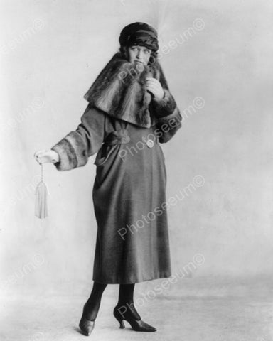 Woman Models Winter Coat 1920 Vintage 8x10 Reprint Of Old Photo