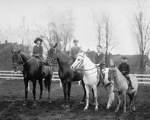 Child Equestrian Riders Sit On Ponies 8x10 Reprint Of Old Photo
